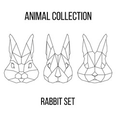 Set of geometric rabbit head isolated on white background vintage vector design element illustration