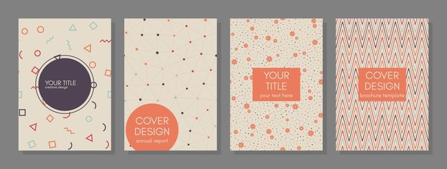 Collection of creative covers. Beautiful backgrounds. Applicable for banner, cover, invitation, placard, brochure. Vector. Isolated.