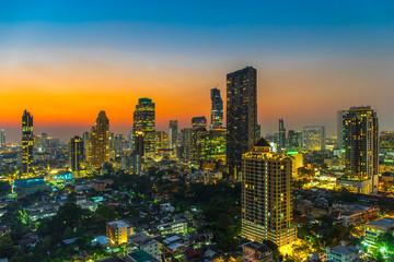 Bangkok Skyscraper Cityscape at Twilight Time, Thailand.