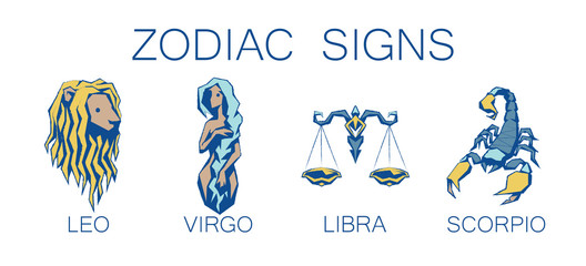 Collection of Zodiac Signs. Vector Illustration of Second Four Zodiacal Simbols.