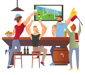 Beer bar - Restaurant. Football fans cheering for the team in a bar. Football match, bar with bartender, alcohol drink. Flat vector illustration on white background. Cartoon character image.