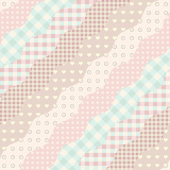 Seamless background pattern. Imitation of a patchwork pattern. Wavy diagonal shapes.