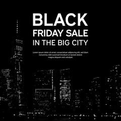 Black Friday Sale Poster on Big City Background. New York. Vector illustration