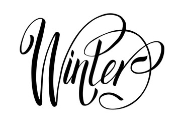 Lettering hello winter. Isolated vector illustration on white background.