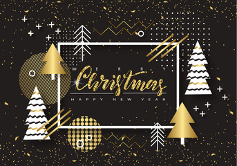 Merry Christmas and Happy New Year. Trendy background with Golden trees and geometric designs . Poster, card, label, banner design. Vector illustration
