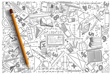 Hand drawn Mathematics vector doodle set background