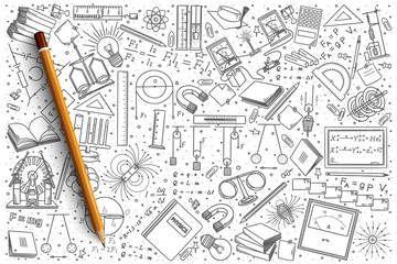 Hand drawn Physics vector doodle set background