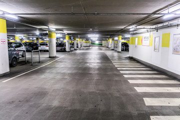 Underground car park for cars at the edge of Wolfsburg, Lower Saxony, Germany
