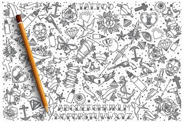 Hand drawn Tattoo vector doodle set background