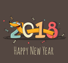 """Cheerful cartoon dog walking through """"2018"""" lettering. New Year 2018 greeting card template."""