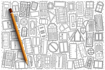 Hand drawn Windows and vector doors doodle set background