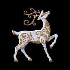 3d render, digital illustration, Christmas reindeer clip art, decorative stag,  embossed gold ornament, white deer, isolated on black background