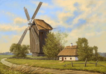 Oil paintings  rural landscape. The art, fine art.