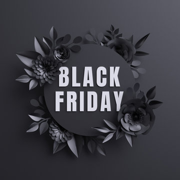 3d render, black friday announcement, poster, paper flowers, botanical background, fashion commercial round banner, floral card, gothic