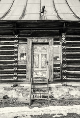 Folk architecture in Zdiar village, Belianske Tatry mountains, colorless