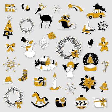 Christmas layered stickers set with gift box, xmas tree, deer, snowman, gingerbread cookie, candle, bell, poinsettia, sleigh, wreath and other. Can be used for advent calendar. Black, white and gold