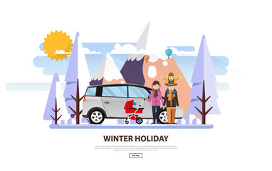 Winter Vacation Vector Backgound. White Snowy Landscape with Family