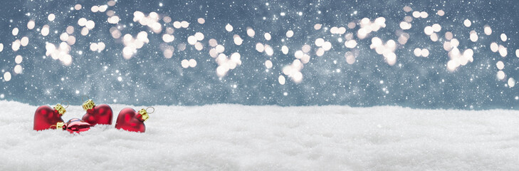 Christmas background, hearts in the snow before Bokeh, banner