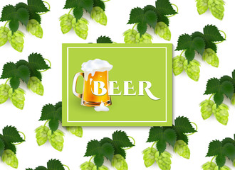 vector poster, banner with full mug of golden lager beer with thick white foam in hop leaves pattern template. Ready for your design mockup. Isolated illustration on a white background.