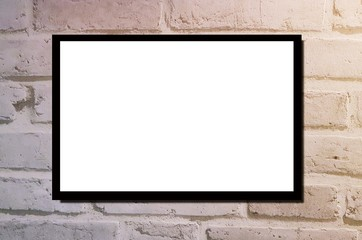 blank advertising billboard or wide screen television with old vintage brick wall background, copy space for text or media content, commercial, marketing and advertisement concept