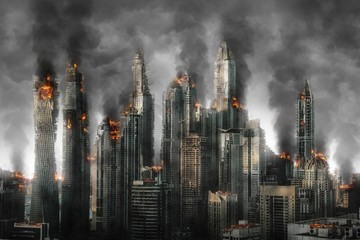 Illustration of city skyline with burning skyscrapers against black smoke