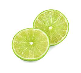 Lime slice. Fruit isolated on white background