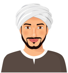 Handsome  arab man avatar face with mustache and beard in a traditional turban  isolated vector Illustration