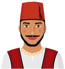 Turkish man face  in traditional hat cartoon character vector Illustration  isolated