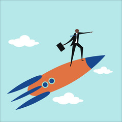 Businessman standing on a flying rocket. Business and upwards concept.
