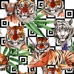 Exotic tiger wild animal  pattern in a watercolor style. Full name of the animal: tiger. Aquarelle wild animal for background, texture, wrapper pattern or tattoo.