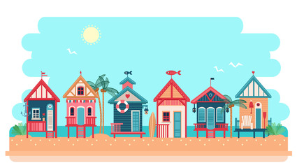 Beach bungalow hotel. Vector summer illustration