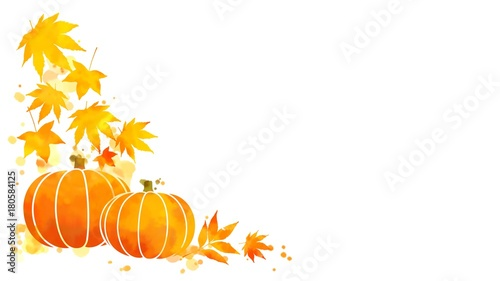 Corner frame of vivid yellow and orange autumn leaves and pumpkins ...