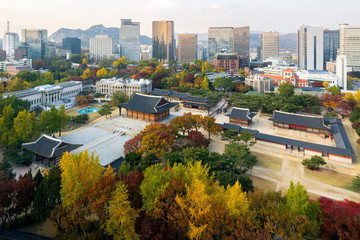 Landscape of Deoksugung Palace on autumn season in Seoul, South Korea.