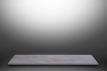 white  top marble shelf and stone floor  texture on gray and white background, can be used display product.