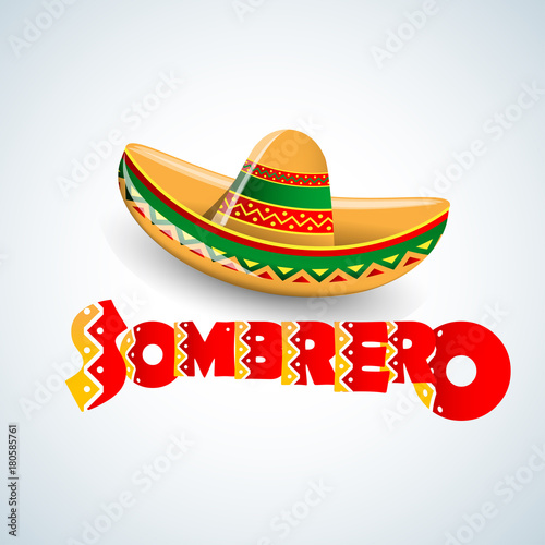 Sombrero Hat vector illustration. Mexican hat on white background.  Masquerade or carnival costume headdress 765af70fb57