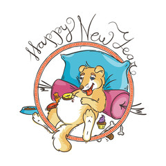 Yellow dog for New Year 2018, cute symbol of horoscope. Cute puppy in cartoon doodle style.