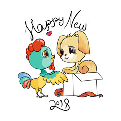 Funny cartoon card with dog and rooster. Symbols of 2017 and 2018. Happy New Year illustration