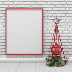 Mock up blank picture frame, Christmas decoration wireframe pyramid and decoration ball 3D