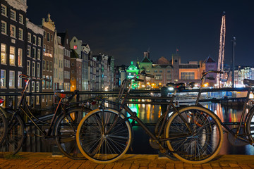 City scenic from Amsterdam in the Netherlands by nightc