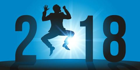2018 - carte de vœux - réussite - succès - optimiste - entreprise - joie - bonheur - optimisme
