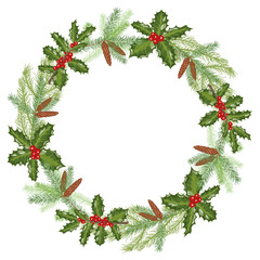 Christmas wreath with branches