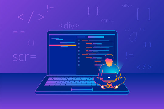 Man sitting on the big laptop and working. Gradient line vector illustration of young programmer coding a new project using computer on violet background with code symbols and signs