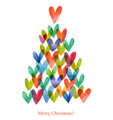 Watercolor Christmas card. Christmas tree and hearts