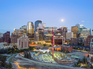 Calgary downtown in the evening, Alberta, Canada