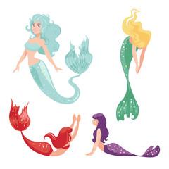 Set of mermaids isolated on white background.
