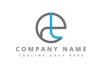 circular ribbon logo letter t and e