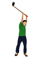 agriculturist with shovel vector design
