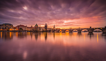 Prague Charles bridge during sunrise. Europe, Czech republic.