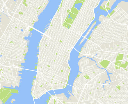 New York and Manhattan urban city vector map