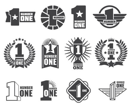 Number one vector logos set